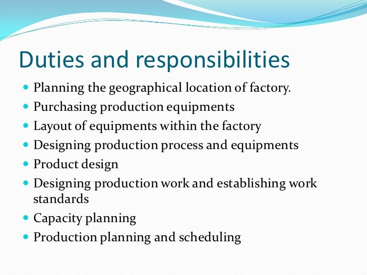 responsibilities of a production manager