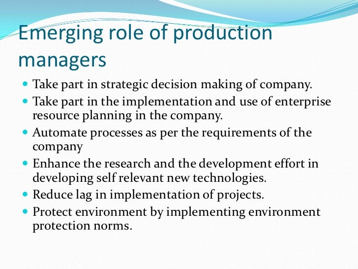 2. Duties And Responsibilities Of Production Managers