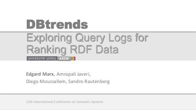 DBtrends Exploring Query Logs for Ranking RDF Data AKSW Edgard Marx, Amrapali Javeri, Diego Moussallem, Sandro Rautenberg ...