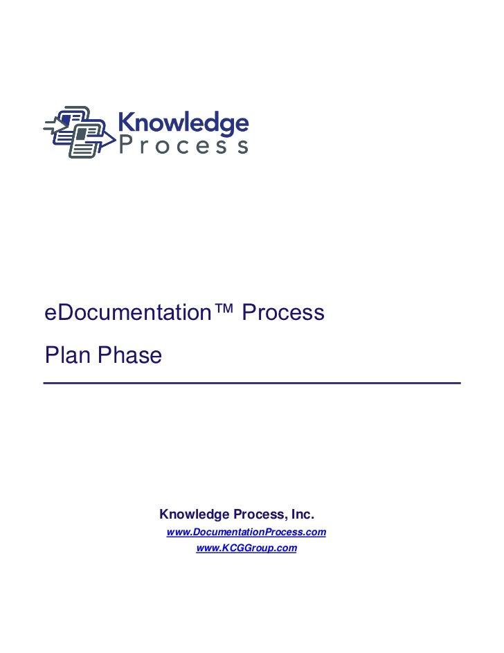 eDocumentation™ ProcessPlan Phase         Knowledge Process, Inc.             www.DocumentationProcess.com                ...