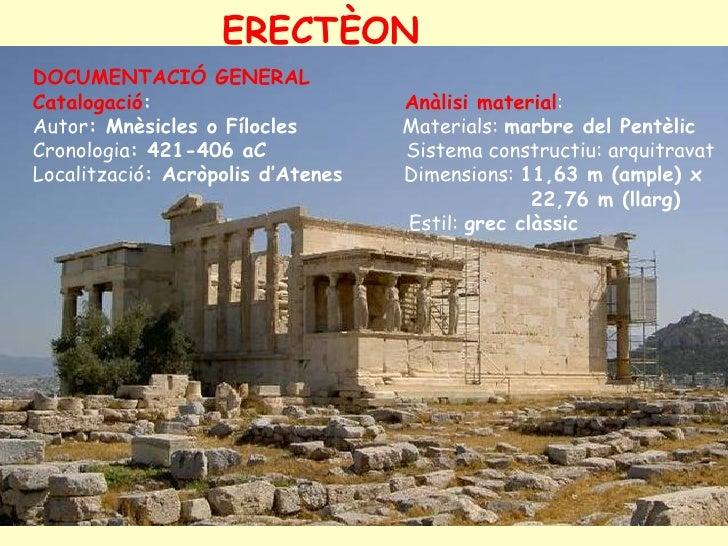 ERECTÈON DOCUMENTACIÓ GENERAL Catalogació:                       Anàlisi material: Autor: Mnèsicles o Fílocles        Mate...