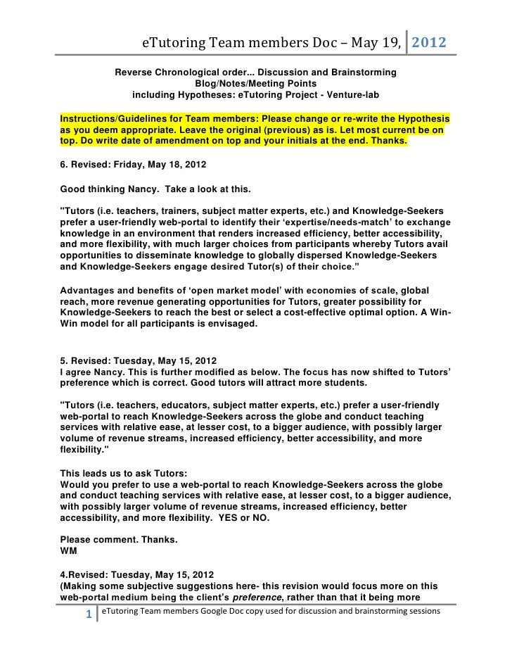 eTutoring Team members Doc – May 19, 2012             Reverse Chronological order... Discussion and Brainstorming         ...