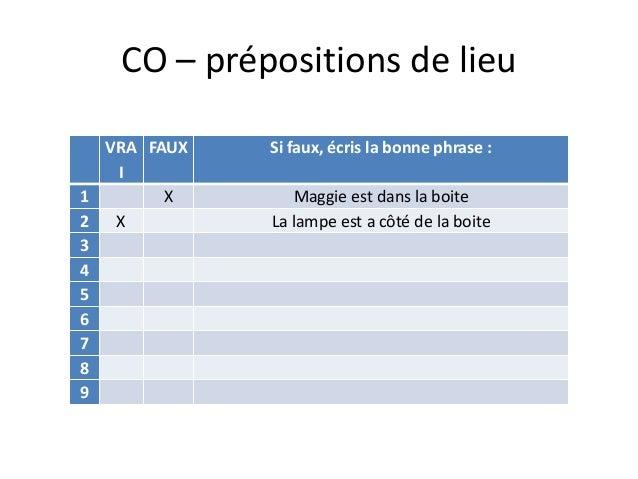 CO – prépositions de lieu VRA I FAUX Si faux, écris la bonne phrase : 1 X Maggie est dans la boite 2 X La lampe est a côté...