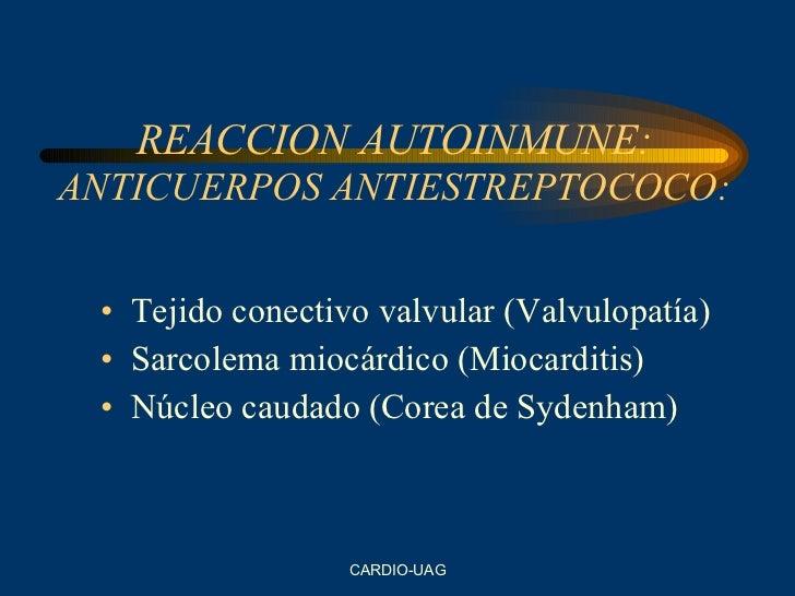 REACCION AUTOINMUNE: ANTICUERPOS ANTIESTREPTOCOCO: <ul><li>Tejido conectivo valvular (Valvulopatía) </li></ul><ul><li>Sarc...