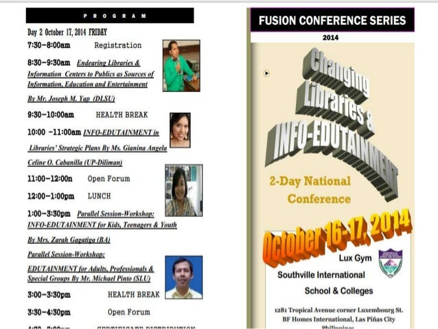2 fold program-brochure: Changing Libs & Info-EDUTAINMENT in October @ Southville International School and Colleges