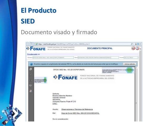 El Producto SIED Documento visado y firmado