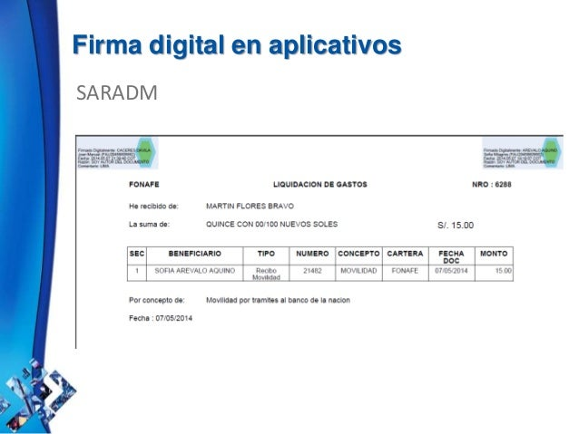 Firma digital en aplicativos SARADM