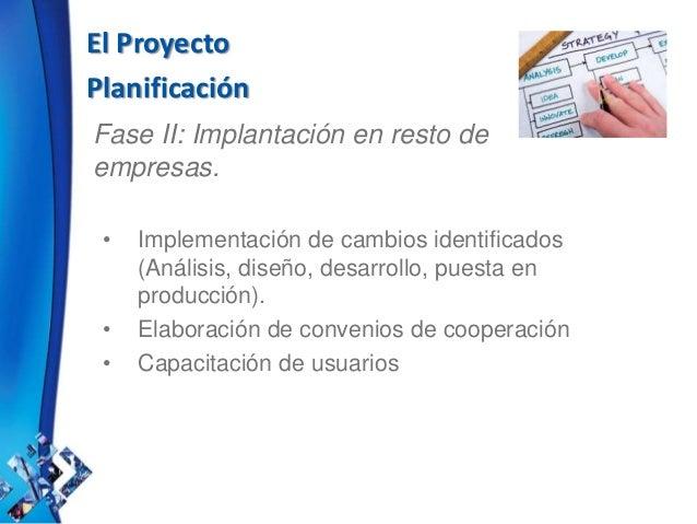 El Proyecto Planificación Fase II: Implantación en resto de empresas. • Implementación de cambios identificados (Análisis,...