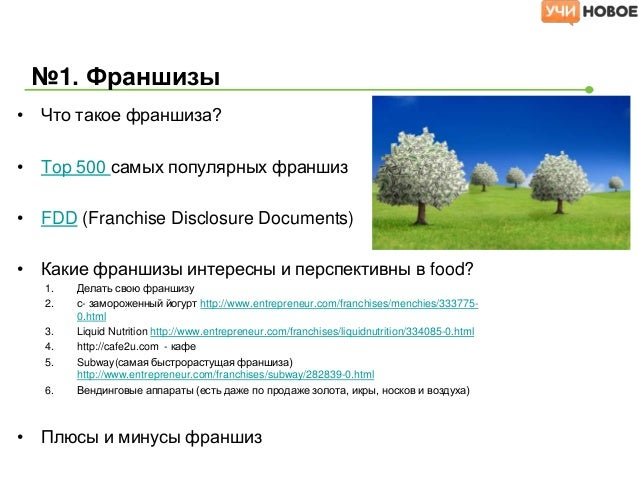 Основные параметры франшизы• Startup Costs, Ongoing Fees and Financing   –   Total Investment: $150,000 - $210,100   –   F...
