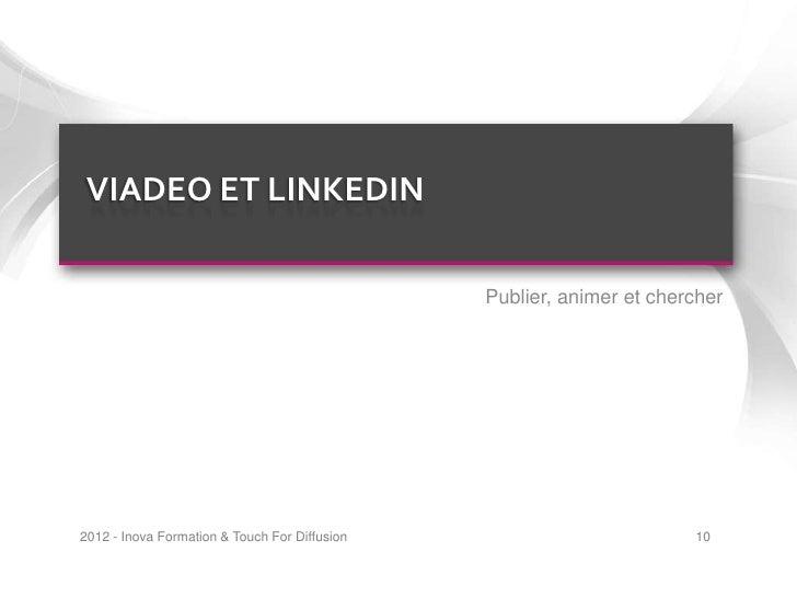 VIADEO ET LINKEDIN                                               Publier, animer et chercher2012 - Inova Formation & Touch...