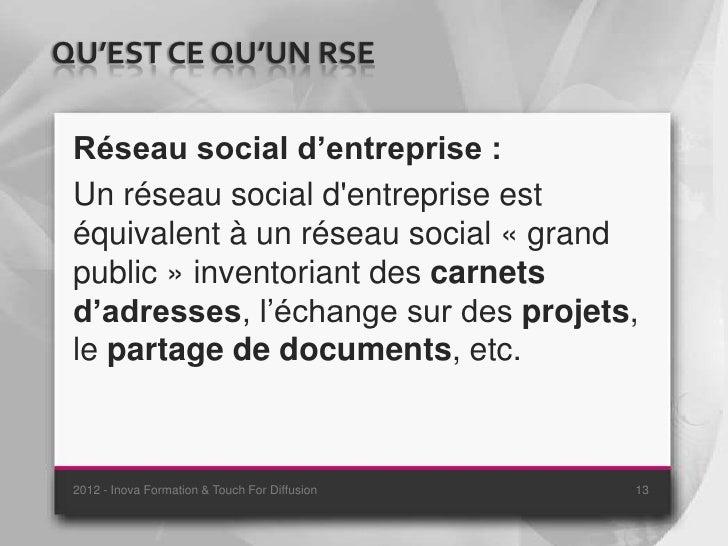 QU'EST CE QU'UN RSE Réseau social d'entreprise : Un réseau social dentreprise est équivalent à un réseau social « grand pu...