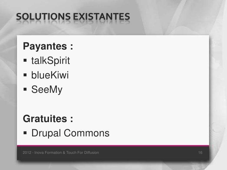 SOLUTIONS EXISTANTES Payantes :  talkSpirit  blueKiwi  SeeMy Gratuites :  Drupal Commons 2012 - Inova Formation & Touc...
