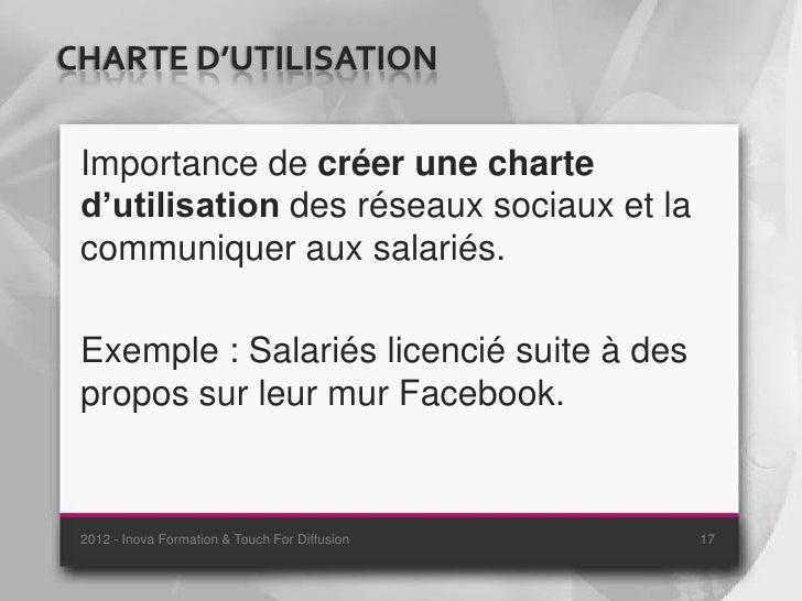 CHARTE D'UTILISATION Importance de créer une charte d'utilisation des réseaux sociaux et la communiquer aux salariés. Exem...