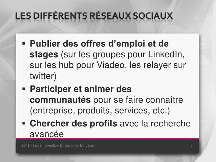 LES DIFFÉRENTS RÉSEAUX SOCIAUX  Publier des offres d'emploi et de   stages (sur les groupes pour LinkedIn,   sur les hub ...