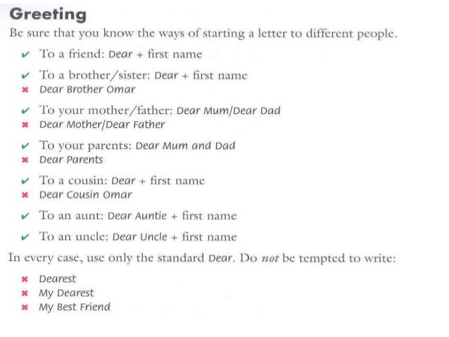 standard friendly letter format