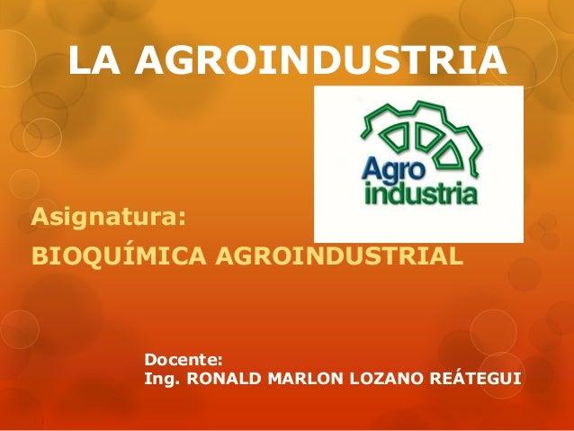 LA AGROINDUSTRIA  Asignatura:  BIOQUÍMICA AGROINDUSTRIAL  Docente:  Ing. RONALD MARLON LOZANO REÁTEGUI