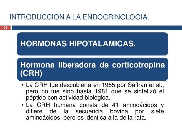 INTRODUCCION A LA ENDOCRINOLOGIA.HORMONAS HIPOTALAMICAS.Hormona liberadora de corticotropina(CRH)• La CRH estimula la secr...