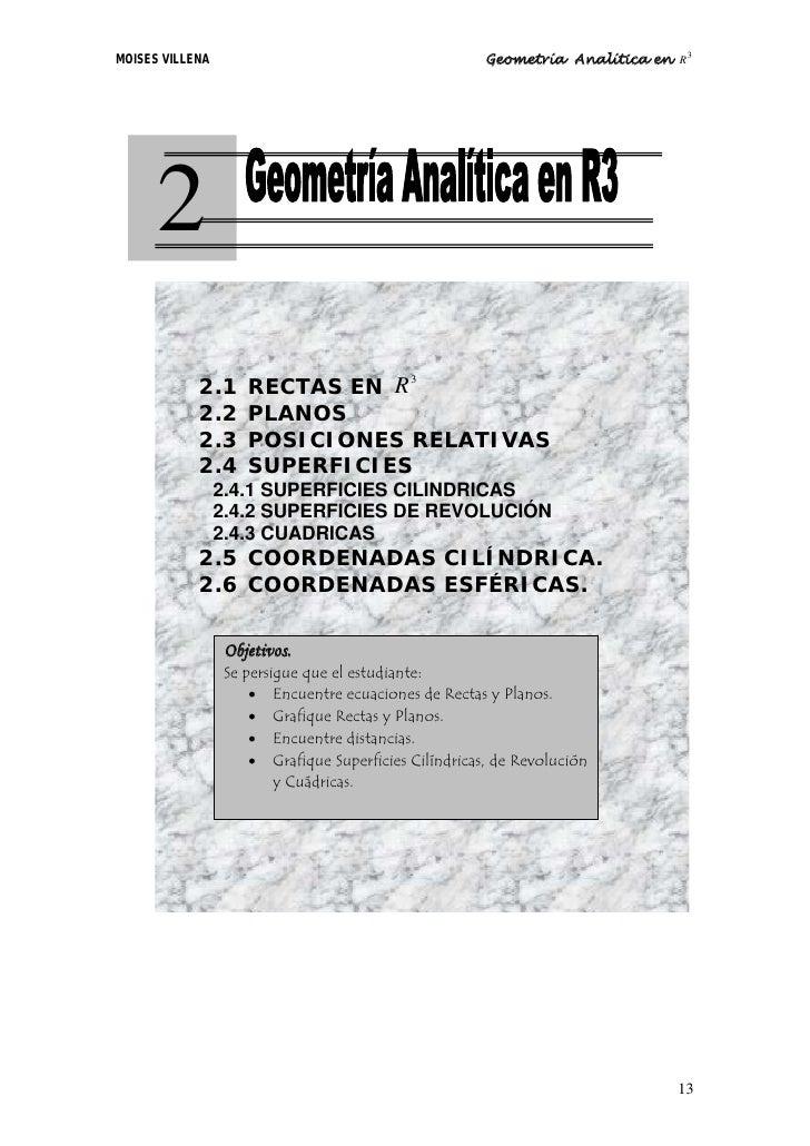 MOISES VILLENA                                         Geometría Analítica en R3           2             2.1     RECTAS EN...