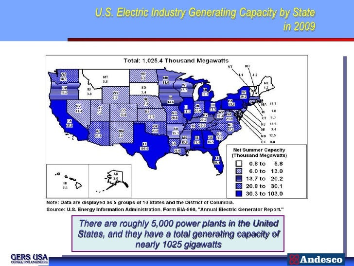 U.S. Electric Industry Generating Capacity by State                                                in 2009There are roughl...