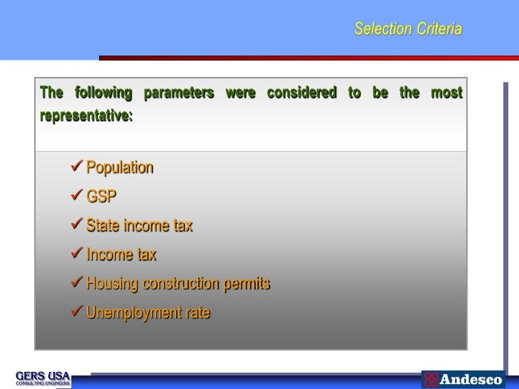Selection CriteriaThe following parameters were considered to be the mostrepresentative:    Population    GSP    State ...