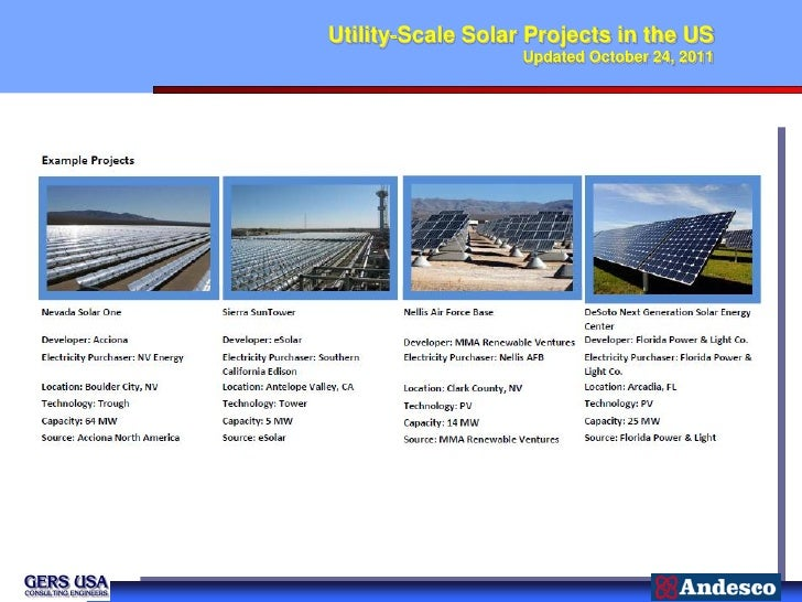 Utility‐Scale Solar Projects in the US                   Updated October 24, 2011