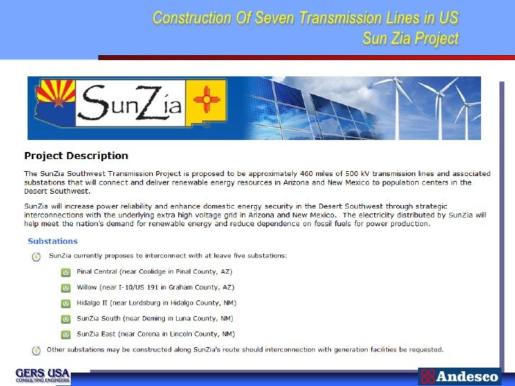 Construction Of Seven Transmission Lines in US                               Sun Zia Project