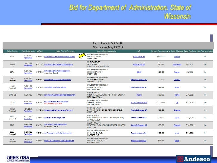 Bid for Department of Administration. State of                                   Wisconsin         List of Projects Out fo...