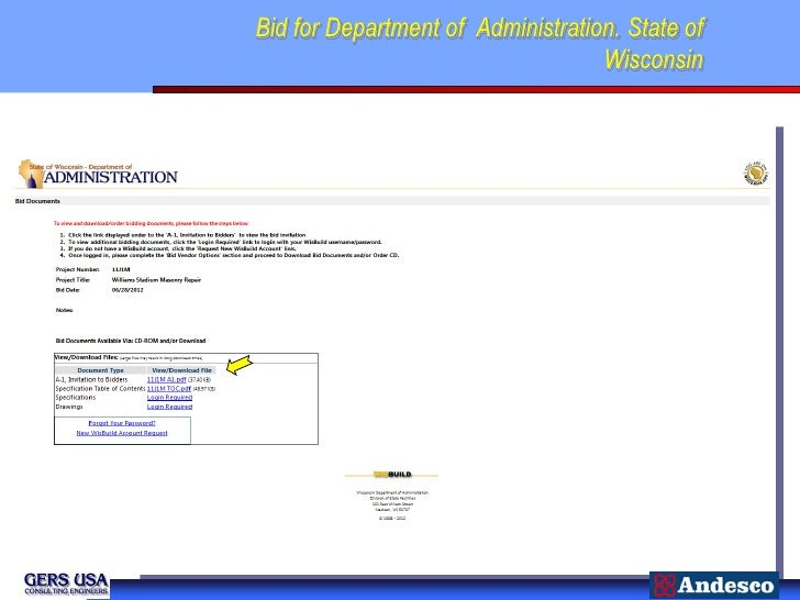 Bid for Department of Administration. State of                                   Wisconsin