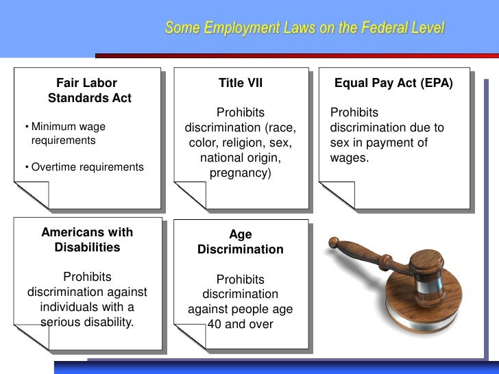 Some Employment Laws on the Federal Level     Fair Labor                    Title VII          Equal Pay Act (EPA)    Stan...