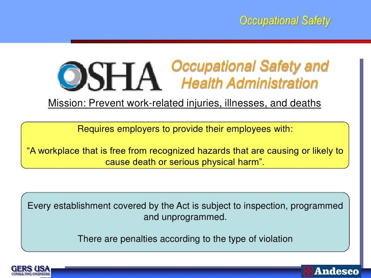 Occupational Safety                                   Occupational Safety and                                    Health Ad...