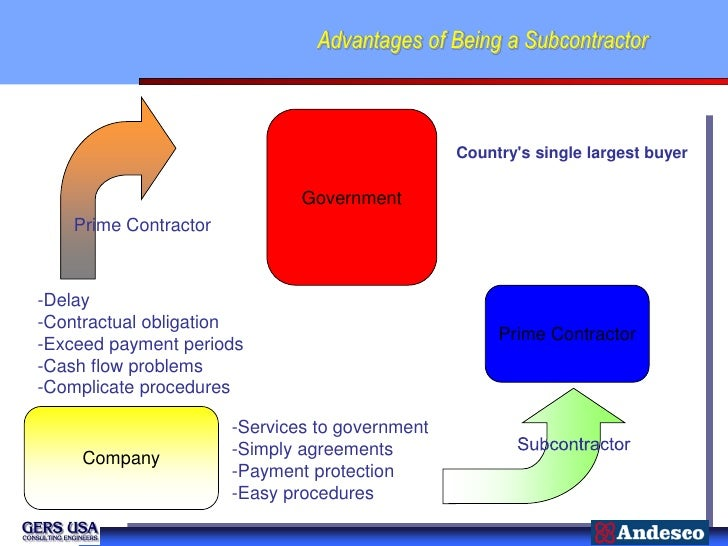 Advantages of Being a Subcontractor                                                 Countrys single largest buyer         ...