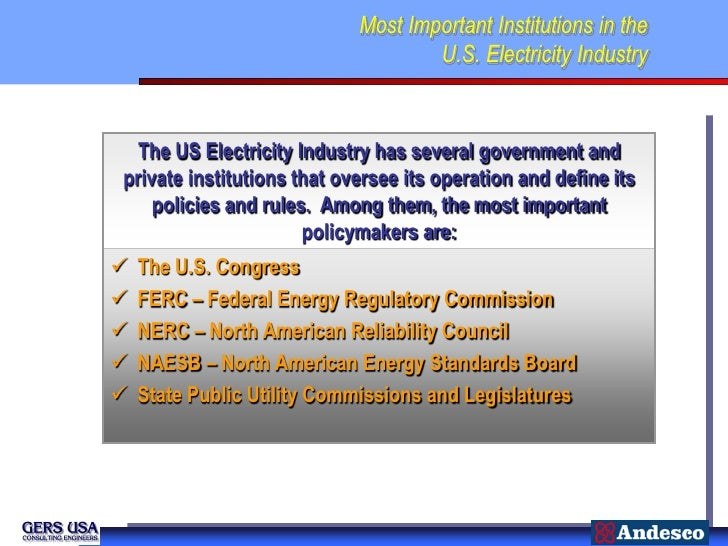 Most Important Institutions in the                                    U.S. Electricity Industry  The US Electricity Indust...