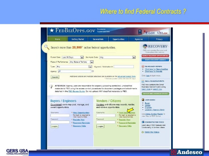 Where to find Federal Contracts ?