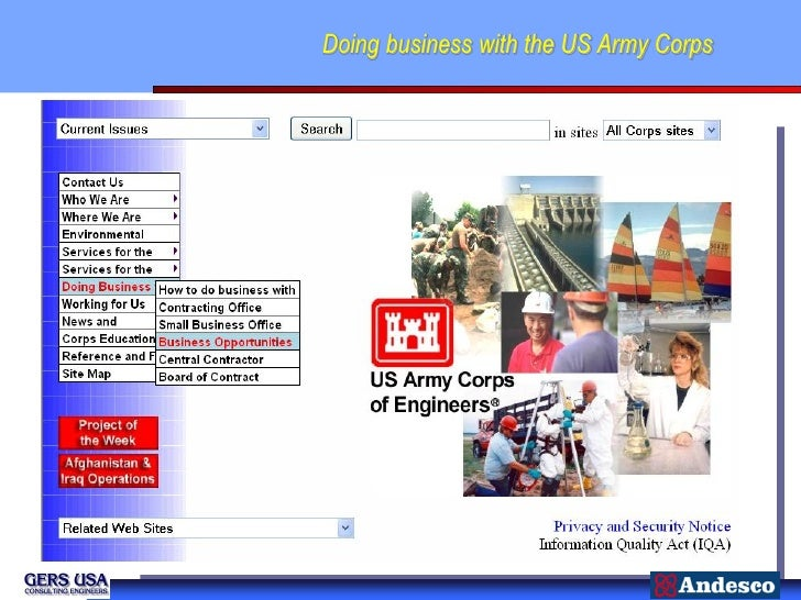 Doing business with the US Army Corps