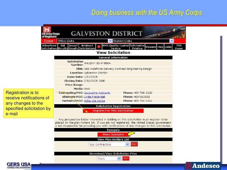 Doing business with the US Army CorpsRegistration is toreceive notifications ofany changes to thespecified solicitation by...