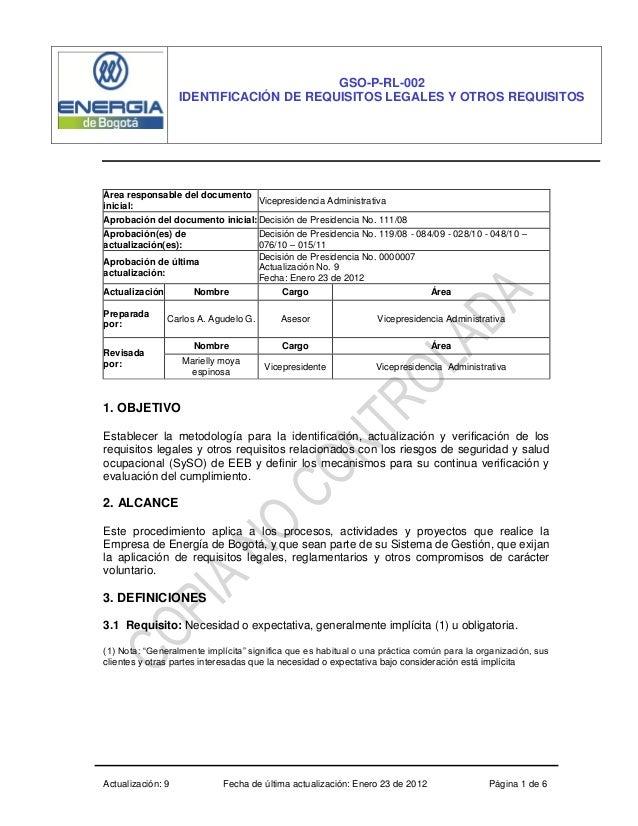 Actualización: 9 Fecha de última actualización: Enero 23 de 2012 Página 1 de 6 GSO-P-RL-002 IDENTIFICACIÓN DE REQUISITOS L...