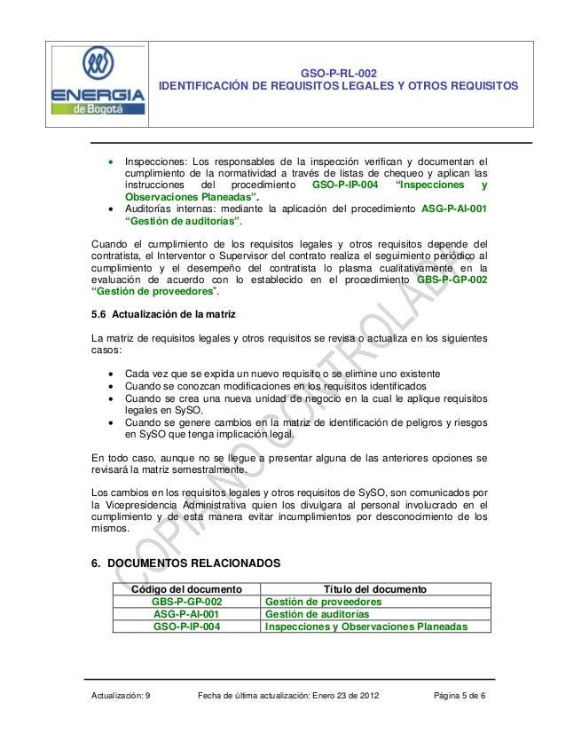 Actualización: 9 Fecha de última actualización: Enero 23 de 2012 Página 5 de 6 GSO-P-RL-002 IDENTIFICACIÓN DE REQUISITOS L...