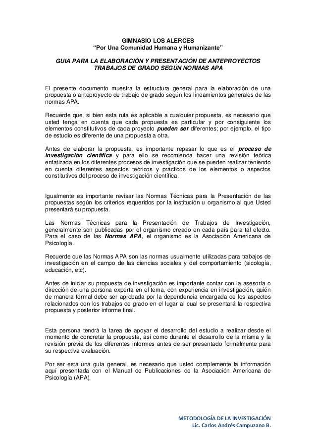 """METODOLOGÍA DE LA INVESTIGACIÓNLic. Carlos Andrés Campuzano B.GIMNASIO LOS ALERCES""""Por Una Comunidad Humana y Humanizante""""..."""