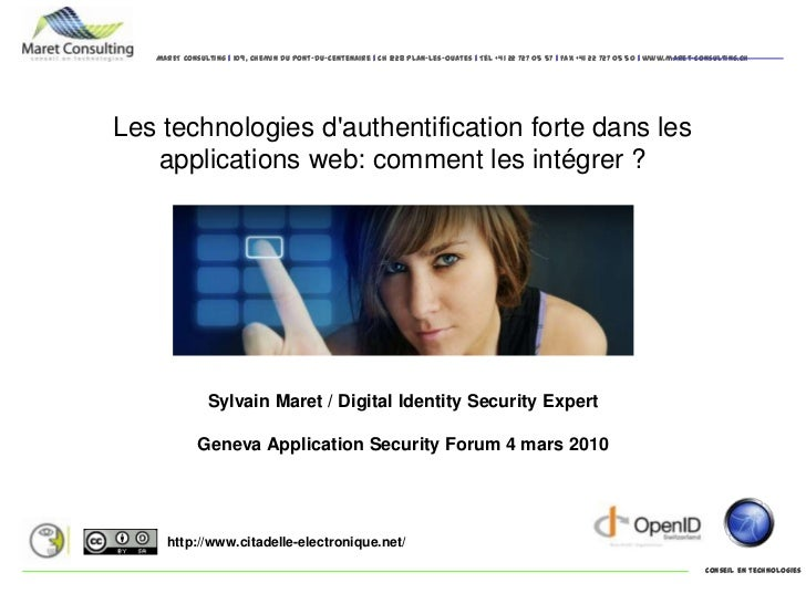 Les technologies d'authentification forte dans les applications web: comment les intégrer ?<br />Sylvain Maret / Digital I...