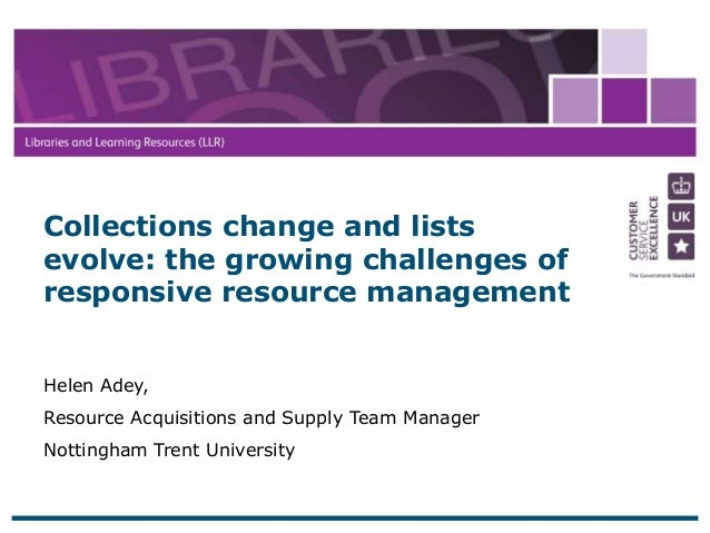 21 April 2015 1 Helen Adey, Resource Acquisitions and Supply Team Manager Nottingham Trent University Collections change a...