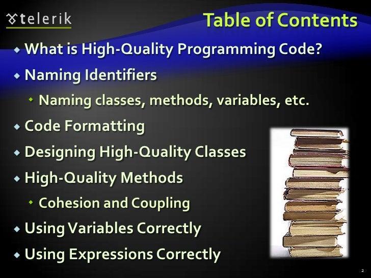 Writing High Quality Code in C# Slide 2