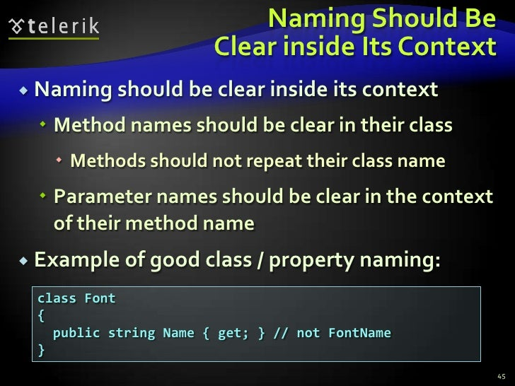 Naming Should BeClear inside Its Context<br />Naming should be clear inside its context<br />Method names should be clear ...