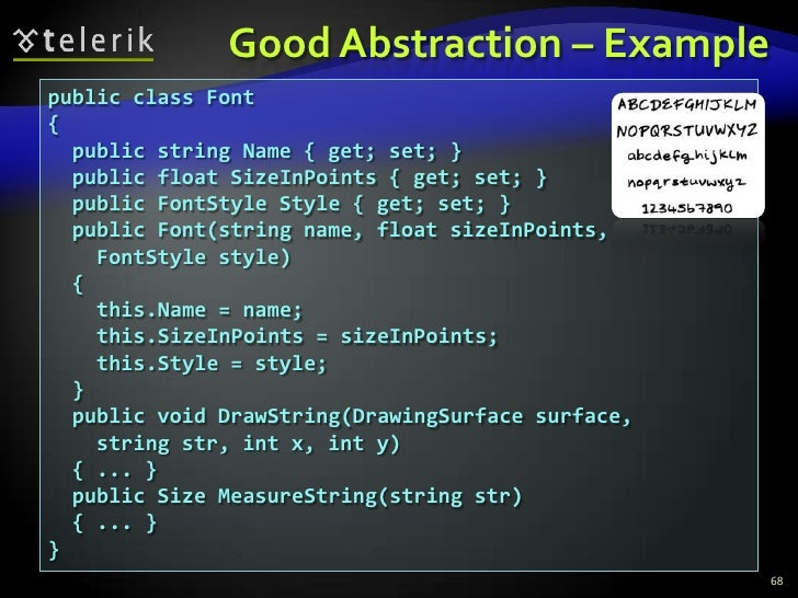 Good Abstraction – Example<br />68<br />public class Font<br />{<br />  public string Name { get; set; }<br />  public flo...
