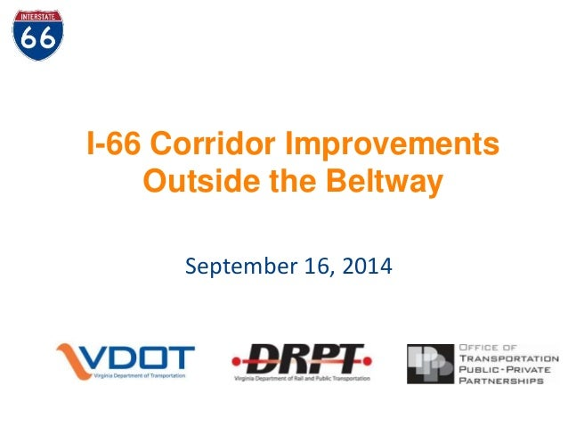 I-66 Corridor Improvements  Outside the Beltway  September 16, 2014