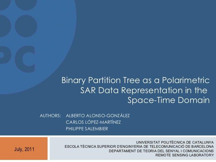 Binary Partition Tree as a Polarimetric                             SAR Data Representation in the                        ...