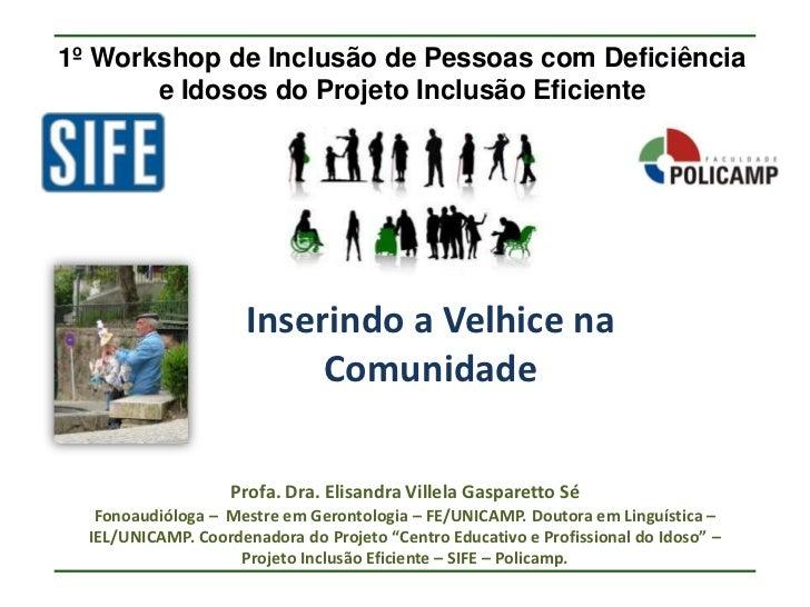 1º Workshop de Inclusão de Pessoas com Deficiência       e Idosos do Projeto Inclusão Eficiente                      Inser...
