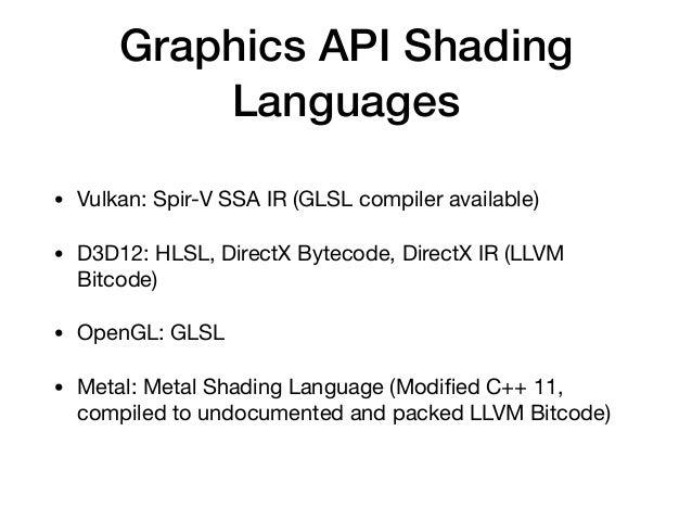 Graphics API Shading Languages • Vulkan: Spir-V SSA IR (GLSL compiler available)  • D3D12: HLSL, DirectX Bytecode, DirectX...