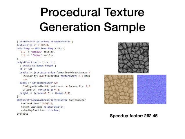 Procedural Texture Generation Sample Speedup factor: 262.45