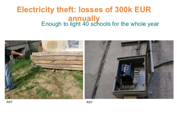 Electricity theft: losses of 300k EUR annually Enough to light 40 schools for the whole year RST RST