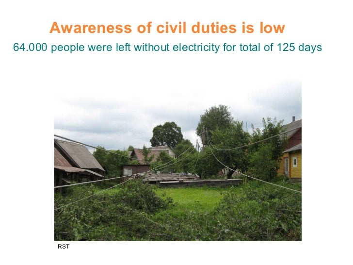 Awareness of civil duties is low 64.000 people were left without electricity for total of 125 days RST